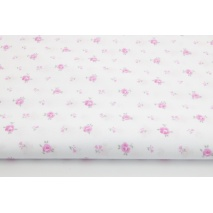 Cotton 100% small pink roses on a white background
