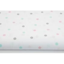 Bawełna 100% różowe, miętowe, szare kropki na białym tle