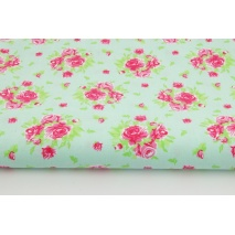 Cotton 100% bunch of roses on a mint background