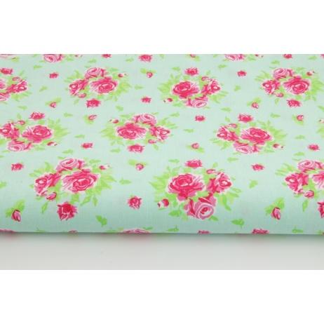 Bawełna 100% róże na miętowym tle