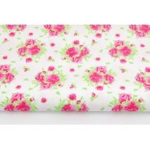 Bawełna 100% bukiety róż na białym tle