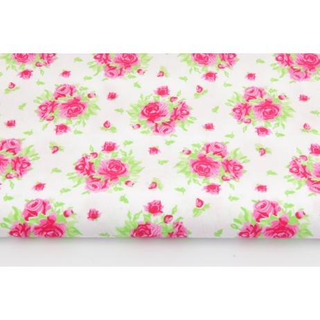 Bawełna 100% róże na białym tle