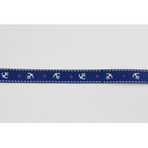 Grosgrain navy ribbon in anchors 10mm