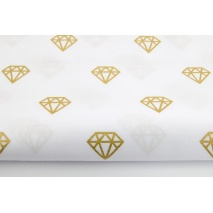 Bawełna 100% złote diamenty na białym tle