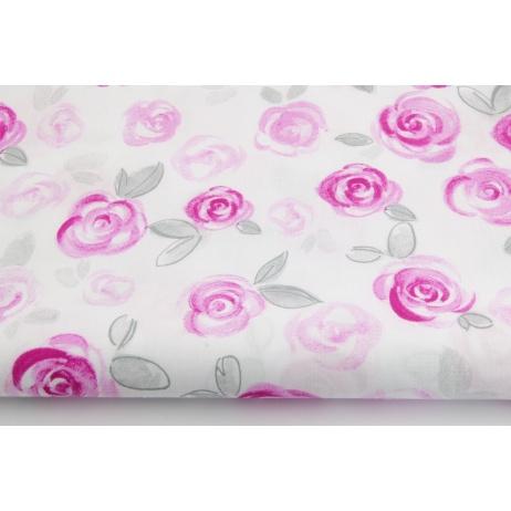 Bawełna 100% fuksjowe malowane róże na białym tle