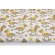 Cotton 100% beige rocking horses on a white background
