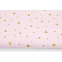 Bawełna 100% złote gwiazdki na jasnym różowym tle