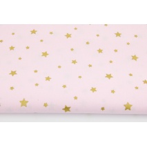 Cotton 100% gold stars on a light pink background