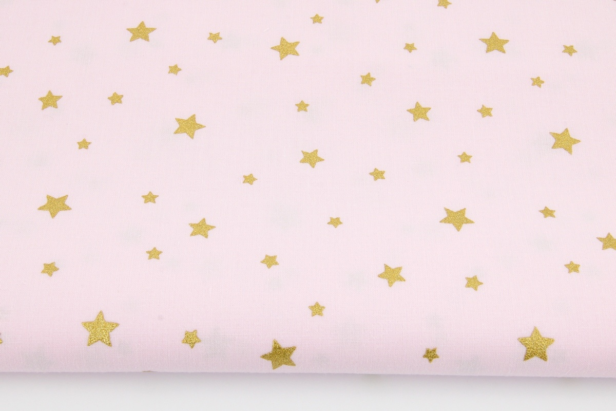 Cotton 100 Gold Stars On A Light Pink Background
