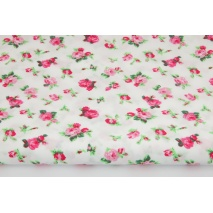 Bawełna 100% różyczki z zielonymi listkami na białym tle