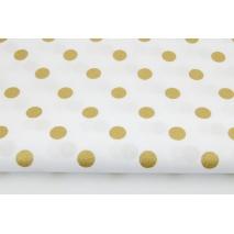 Bawełna 100% złote kropki 15mm na białym tle