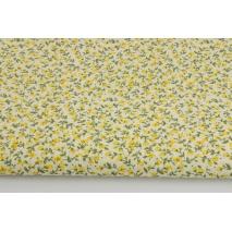 Bawełna 100% żółte kwiatki na kremowym tle