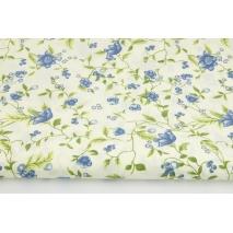 Bawełna 100% ciemnoniebieskie kwiaty na kremowym tle