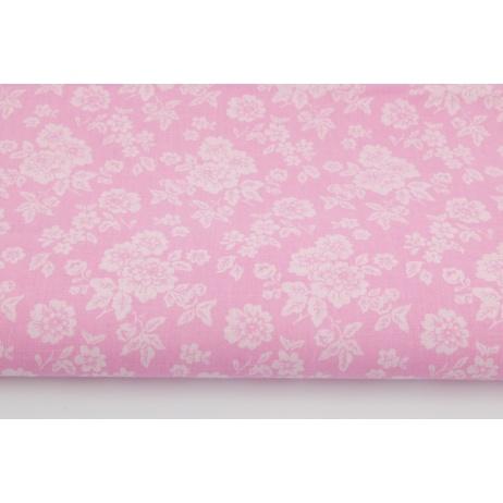 Bawełna 100% jasnoróżowe kwiaty na różowym tle