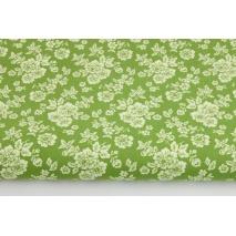 Bawełna 100% jasnozielone kwiaty na zielonym tle