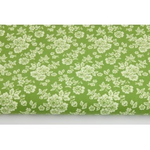 Cotton 100% light green flowers on a green background