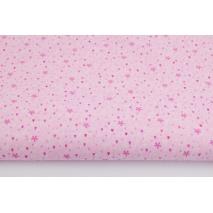 Bawełna 100% mini serduszka, kwiatki na różowym tle