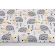 Cotton 100% light gray hedgehogs on a white background