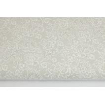 Bawełna 100% biała koronka na jasnoszarym tle
