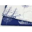 Cotton 100% white sailing ships, anchors on a navy background