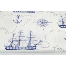 Cotton 100% navy sailing ships, anchors on a white background