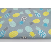 Cotton 100% pineapples yellow, mint on a gray background