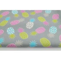Bawełna 100% ananasy różowe, zielone na szarym tle