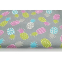 Cotton 100% pineapples pink, green on a gray background