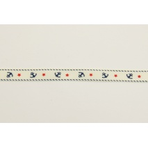 Grosgrain cream ribbon in anchors 10mm