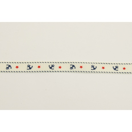 Grosgrain cream ribbon in anchors 10mm
