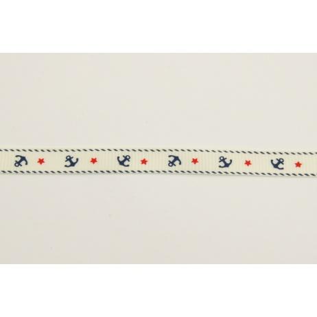 Tasiemka rypsowa kremowa w kotwice 10mm