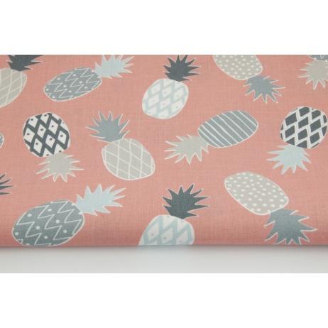 Bawełna 100% ananasy szare na brudnym różowym tle