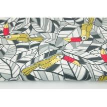 Bawełna 100% tukany na szarych liściach