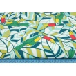 Cotton 100% toucans on a turquoise leaves
