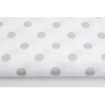 Bawełna 100% srebrne kropki 15mm na białym tle