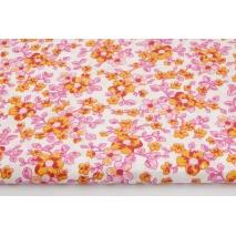 Bawełna 100% różowe, pomarańczowe kwiaty jabłoni na białym tle