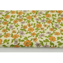 Cotton 100% marigolds on the light yellow background