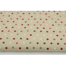 Bawełna 100% kropki 5mm na lnianym tle