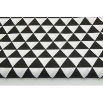 Bawełna 100% czarne trójkąty 3cm równoboczne