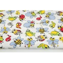 Bawełna 100% wesołe owady na białym tle