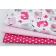 Cotton 100% pink, gray birds on a white background