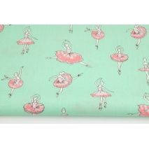 Cotton 100% coral rose dancers on a mint-green background