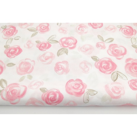 Cotton 100% coral rose painted roses on a white background