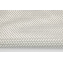 Cotton 100% white polka dots, peas on a gray background