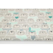 Cotton 100% gray - mint bears, Indians