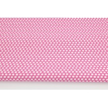 Cotton 100% white polka dots, peas on a dark pink background