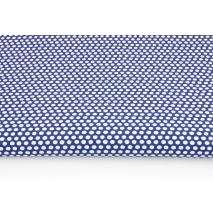Cotton 100% white polka dots, peas on a navy background
