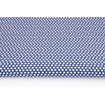 Cotton 100% white polka dots, peas on a navy background