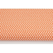 Cotton 100% white polka dots, peas on an orange background
