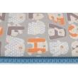 Cotton 100% alphabet orange-gray